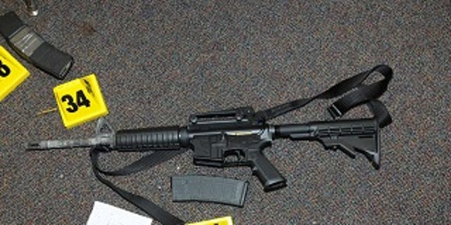 An AR-15 rifle found at the scene of the Sandy Hook Elementary shooting in 2012. The shooting killed 20 children and six educators.