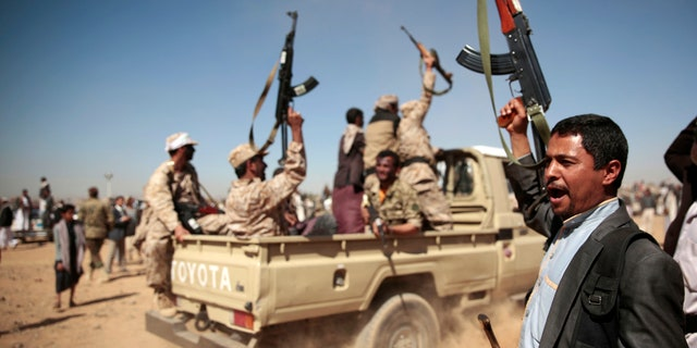 In this Jan. 3, 2017 file photo, tribesmen loyal to Houthi rebels chant slogans during a gathering aimed at mobilizing more fighters into battlefronts to fight pro-government forces.