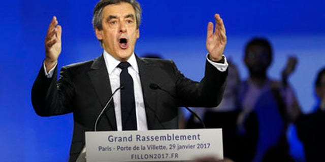 Jan. 29, 2017: French Conservative presidential candidate Francois Fillon makes a speech during a campaign meeting in Paris.