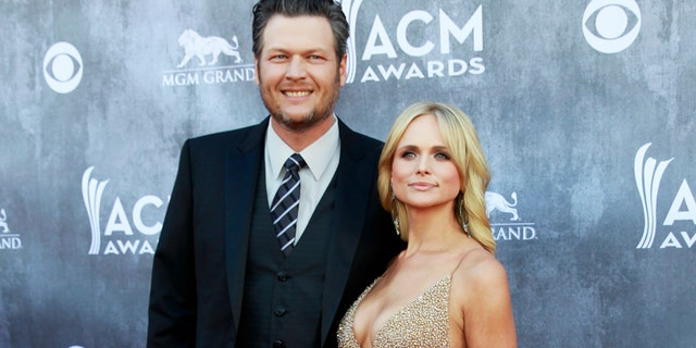 Blake Shelton and Miranda Lambert arrive at the 49th Annual Academy of Country Music Awards in Las Vegas, Nevada April 6, 2014.