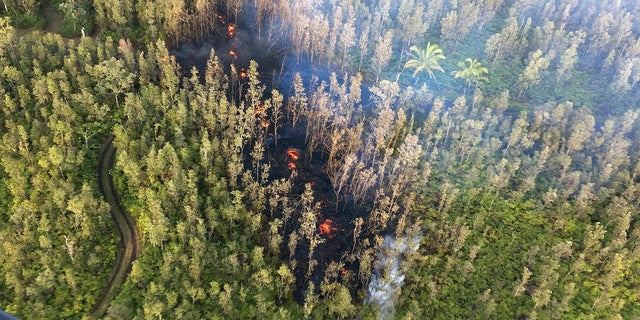 Lava is shown burning in Leilani Estates subdivision near the town of Pahoa on Hawaii's Big Island.