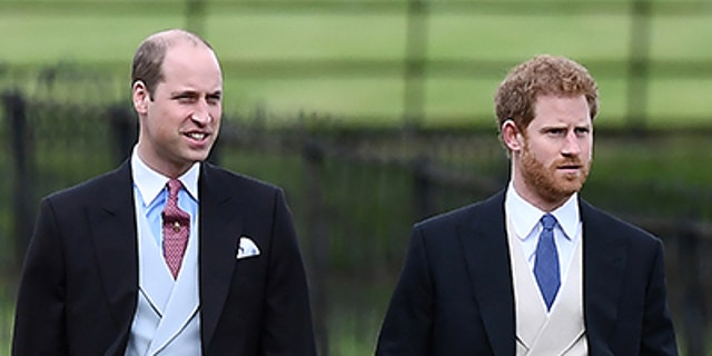 Britain's Prince Harry (R) and Prince William attend the wedding of Pippa Middleton, the sister of Britain's Catherine, Duchess of Cambridge, and James Matthews at St Mark's Church in Englefield, west of London, on May 20, 2017.