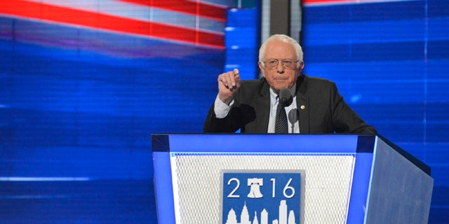 July 25, 2016: Sen. Bernie Sanders of Vermont speaks at the Democratic National Convention.