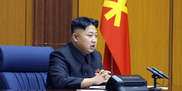 Feb. 3, 2013: In this undated photo released by the Korean Central News Agency and distributed Sunday in Tokyo by the Korea News Service, North Korean leader Kim Jong Un attends an enlarged meeting of the Central Military Commission of the Workers' Party of Korea at an undisclosed location of North Korea. (AP)