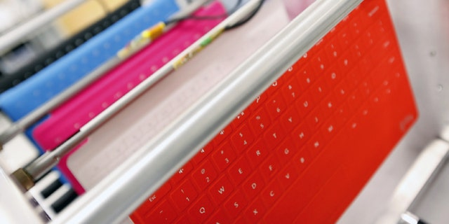Oct. 16, 2012: Colorful covers for the Surface tablet, with a flexible, integrated keyboard, are seen in the company's industrial design studio in Redmond, Wash.