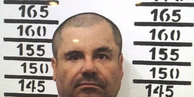 """In this Jan. 8, 2016 file photo released by Mexico's federal government, Mexico's drug lord Joaquin """"El Chapo"""" Guzman stands for his prison mug shot with the inmate number 3870 at the Altiplano maximum security federal prison in Almoloya, Mexico. (Mexico's federal government via AP, File)"""