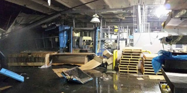 July 14, 2015: This image shows the interior of the Zodiac Aerospace plant in Newport, Wash. after an explosion. (Courtesy Christopher Demlow)