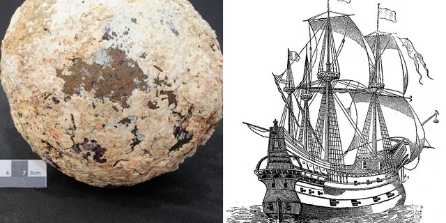 """The cannonball believed to be from the wreck of the Spanish Galleon """"San Francisco"""" (Ian McCann) and an illustration of a galleon (iStock/nicoolay)"""