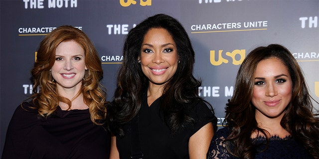 """Meghan Markle with her """"Suits"""" castmates."""
