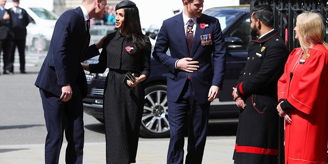 Later that day, Markle changed into an all-black look for Anzac Day services at Westminster Abbey in London.
