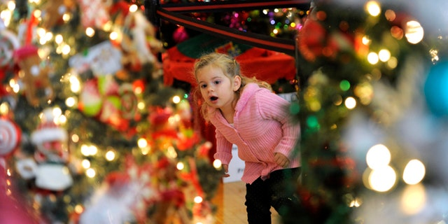 Nov. 25, 2012: Carly Serepetti, checks out the decorated Christmas trees on display in Dearborn, Mich.