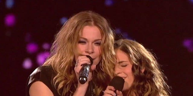 "LeAnn Rimes performs with Carly Rose Sonenclar on ""The X Factor."""