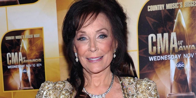 Nov. 10, 2010: FILE - This file photo shows singer Loretta Lynn in the press room during the 44th Annual Country Music Awards in Nashville, Tenn.