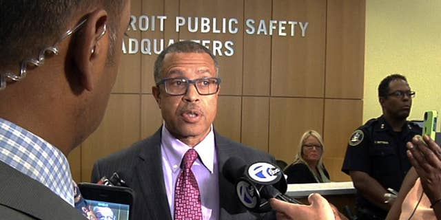 In this image from video, Detroit Police Chief James Craig speaks to reporters during a news conference held at his department's headquarters in Detroit, Monday July 11, 2016. (AP Photo/Mike Householder)