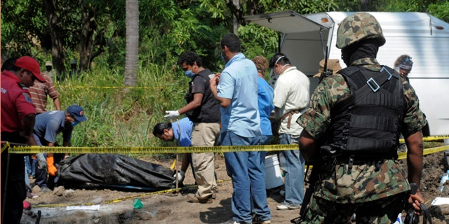 Nov. 3, 2010: A Mexican Navy soldier watch as forensic workers remove a body which was buried at a field in the town of Tuncingo, southern Mexico.