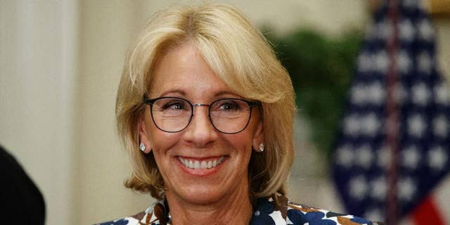 Education Secretary Betsy DeVos speaks during a school choice event in the Roosevelt Room of the White House in Washington, Wednesday, May 3, 2017. (AP Photo/Evan Vucci)