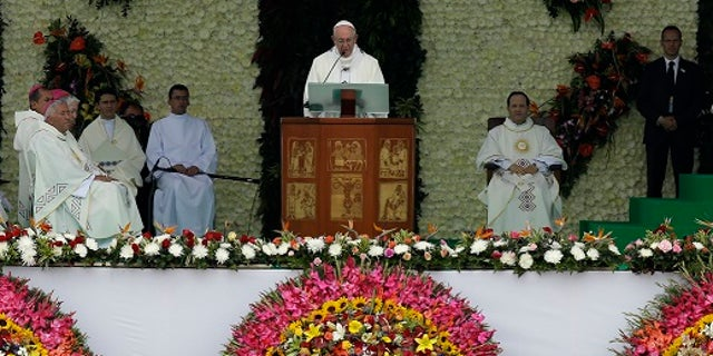Pope Francis addressed the crowd during mass in Medellin, Colombia, Saturday, Sept. 9, 2017.