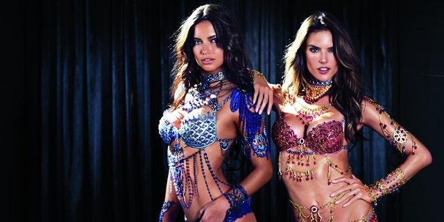 Adriana Lima, Alessandra Ambrosio in the 2014 Victoria's Secret Fantasy Bras.