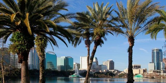 Orlando Skyline on lake Eola