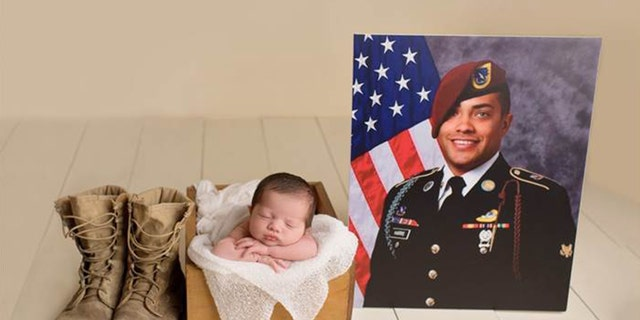 In the images, Christian sleeps peacefully next to her late father's photo taken at their Fayetteville, N.C. home.
