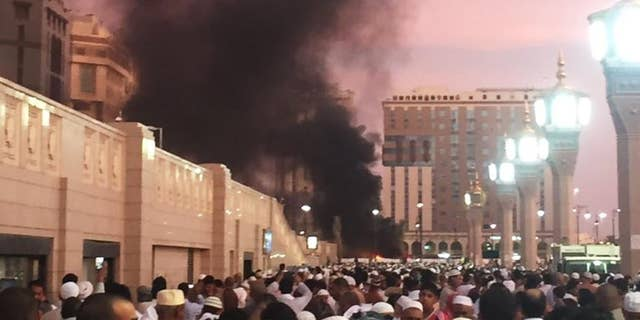 The explosion site in Medina on Monday.
