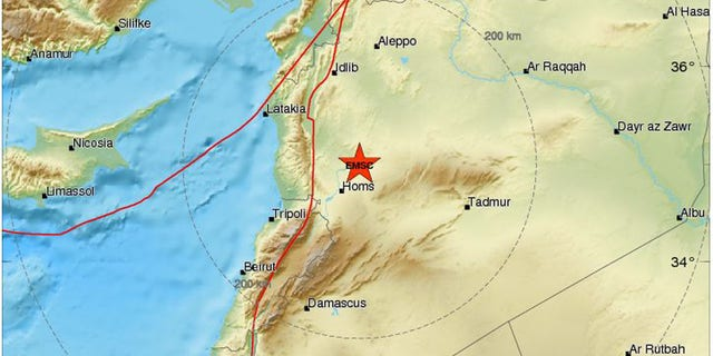 The area of the where an earthquake was registered in Syria on Sunday, according to the European-Mediterranean Seismological Centre.