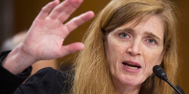 FILE: July 17, 2013: U.S. Ambassador to the U.N. nominee Samantha Power testifies on Capitol Hill in Washington, D.C.