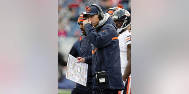 Chicago Bears head coach Marc Trestman watches the action from the sideline in the second half of an NFL football game against the New England Patriots, Sunday, Oct. 26, 2014, in Foxborough, Mass. (AP Photo/Steven Senne)