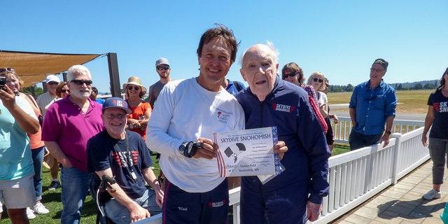 Now, Williamson has his sights set on a new goal: breaking the world record for oldest skydiver.