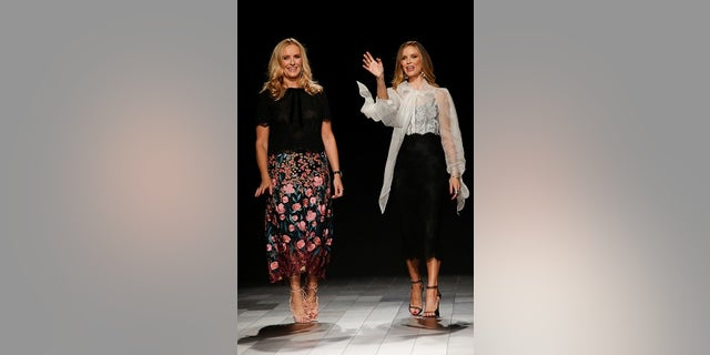 Designers Keren Craig and Georgina Chapman walk the runway from Marchesa SS 2018 collection during New York Fashion Week, September 2017.