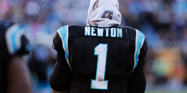 Carolina Panthers quarterback Cam Newton (1) stands on the sideline during the second half of a divisional playoff NFL football game against the San Francisco 49ers, Sunday, Jan. 12, 2014, in Charlotte, N.C. (AP Photo/Chuck Burton)