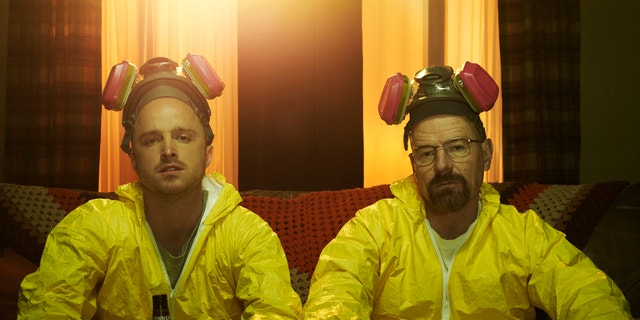 """Bryan Cranston, right, doesn't miss playing villain Walter White on """"Breaking Bad."""""""