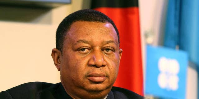 FILE- In this Nov. 30, 2016 file photo, Mohammad Barkindo, OPEC Secretary-General gives a news conference at their headquarters in Vienna, Austria. Barkindo said Wednesday, April 19, 2017, that oil producers are seeking sustainable stability in crude markets as they consider whether to extend output curbs. Members of the Organization of the Petroleum Exporting Countries and 11 non-OPEC producers last year agreed to take a combined 1.8 million barrels of oil off the market per day through the first half of this year in an effort to boost prices. (AP Photo/Ronald Zak, File)