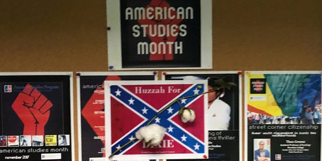 Someone placed Confederate flag posters with cotton on the campus of American University.