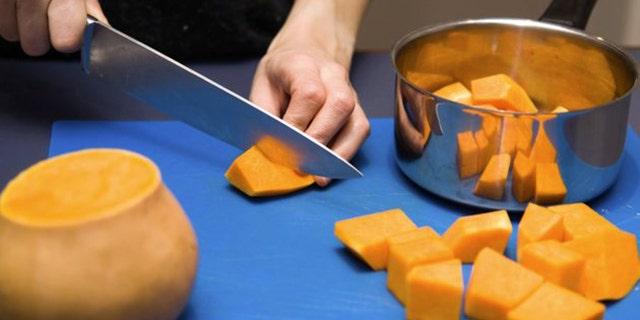 Pumpkin preparation on blue