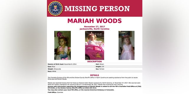 Authorities in North Carolina have positively identified the body of a 3-year-old girl who was reported missing from her home 10 days ago.