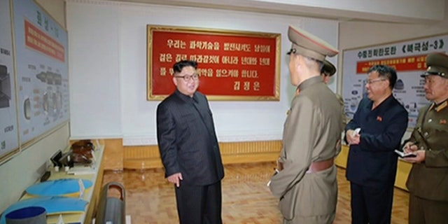 Kim Jong Un visits the Chemical Material Institute of Academy of Defense Science at an undisclosed location in North Korea.