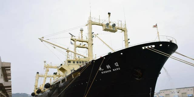 Japanese whaling vessel Nisshin Maru is anchored in Shimonoseki, western Japan, Friday, March 31, 2017. (Souichiro Tanaka/Kyodo News via AP)