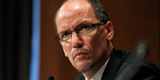 Labor Secretary nominee Thomas Perez listens on Capitol Hill in Washington, Thursday, April 18, 2013, as he testifies before the Senate Health, Education, Labor and Pensions Committee hearing on his nomination.