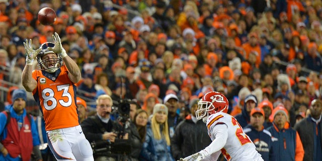 Denver Broncos wide receiver Wes Welker (83) catches a pass against the Kansas City Chiefs in the second quarter of an NFL football game, Sunday, Nov. 17, 2013, in Denver. (AP Photo/Jack Dempsey)