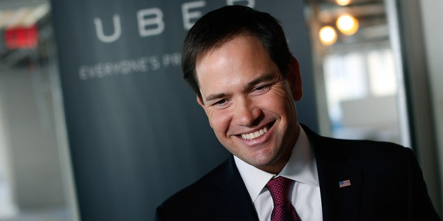 U.S. Sen. Marco Rubio speaks at Uber's headquarters March 23, 2014 in Washington, DC.