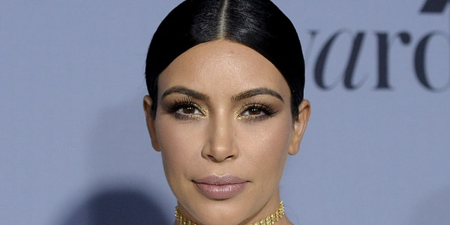 October 26, 2015. Kim Kardashian-West poses during the InStyle Awards at the Getty Center in Los Angeles, California.