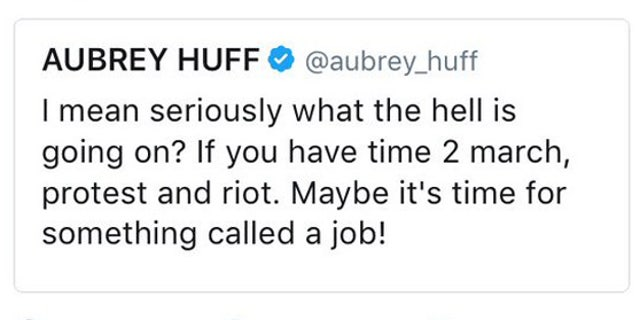 A screenshot of one of Aubrey Huff's tweets, which he later appeared to have deleted.
