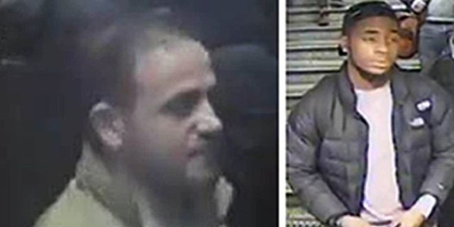 London police released these photos of two men in connection to the incident at the Oxford Circus subway station.