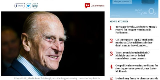 The Telegraph accidentally published an obituary of Prince Philip.