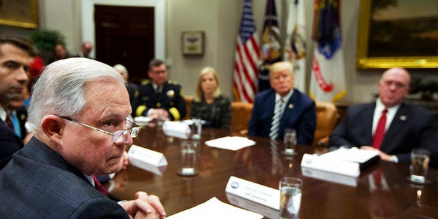 President Trump and Attorney General Jeff Sessions blasted so-called 'sanctuary cities' at a White House roundtable.