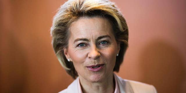 German Defense Minister Ursula von der Leyen arrives for the weekly cabinet meeting of the German government at the chancellery in Berlin, Wednesday, May 3, 2017. (AP Photo/Markus Schreiber)