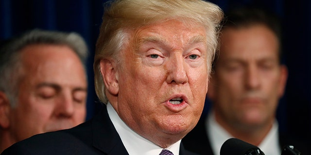 FILE -- President Donald Trump speaks after meeting with police at the Las Vegas Metropolitan Police Department in the wake of the mass shooting in Las Vegas, Nevada, U.S., October 4, 2017.