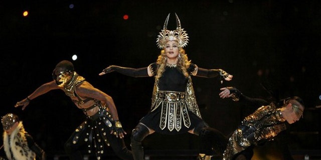 Feb. 5, 2012: Madonna performs during the halftime show at the NFL Super Bowl XLVI football game between the New York Giants and the New England Patriots in Indianapolis, Indiana.