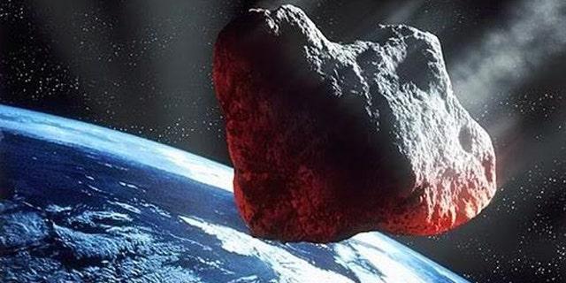 Artist's illustration of a dangerous asteroid streaking toward Earth.